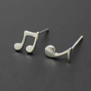 Jewelry - Musical Notes Pair Silver Stud Earrings